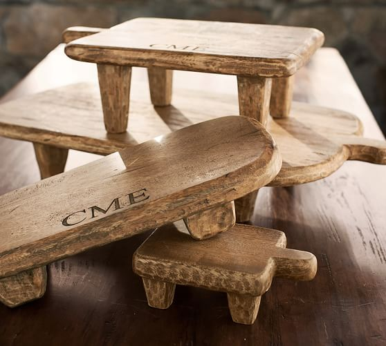 Blond Wood Paddle Pedestal, Medium