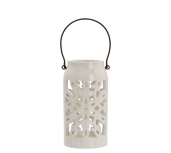 Snowflake punched ceramic lantern pottery barn for Pottery barn lantern string lights