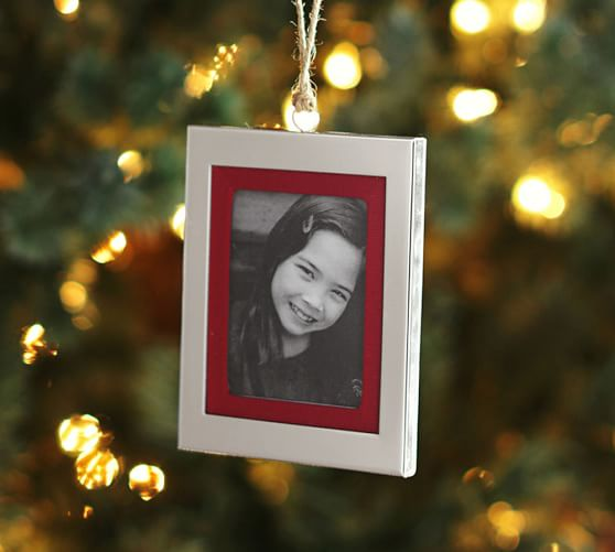 Personalizable Grosgrain Frame Ornament, Silver-Plated