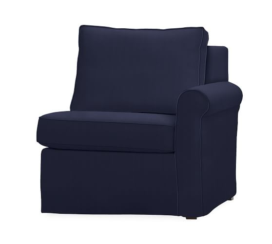 Cameron Roll Arm Right Arm Chair Slipcover Organic Cotton Twill Navy Potte