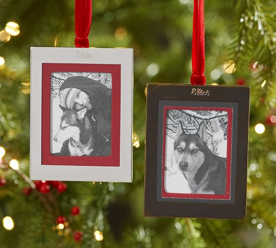 Personalizable Grosgrain Frame Ornament | Pottery Barn