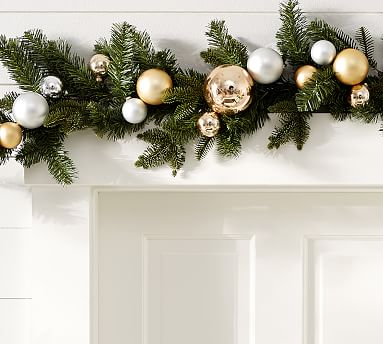Outdoor Ornament Pine Garland Gold Silver Pottery Barn