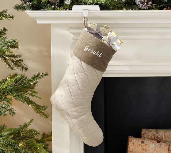 Rustic Luxe® Linen & Velvet Christmas Stocking, Brown Trim