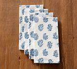 Block Print Napkin, Set of 4 - Blue Floral