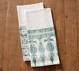 Block Print Tea Towels, Mixed Set of 2 - Blue/Green