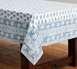 Block Print Tablecloth, Blue Floral