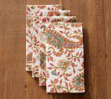 Block Print Napkin, Set of 4 - Orange Paisley
