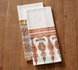 Block Print Tea Towels, Mixed Set of 2 - Orange/Red