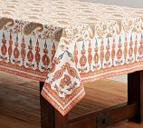 Block Print Tablecloth, Orange Paisley