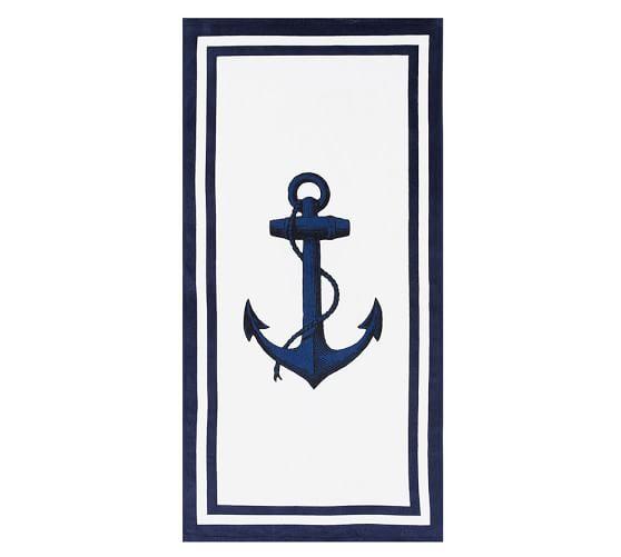 Anchor Beach Towel, White/Navy
