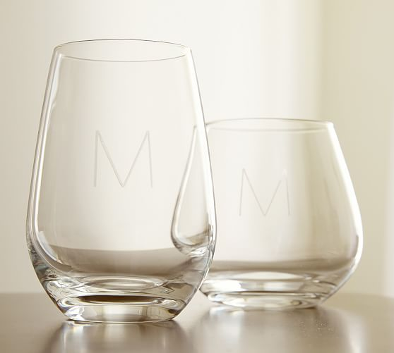 Schott zwiesel stemless wine glasses set of 6 pottery barn - Stemless wine goblets ...
