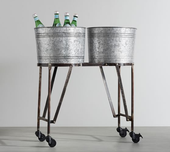 Galvanized Metal Double Beverage Tub With Stand | Pottery Barn