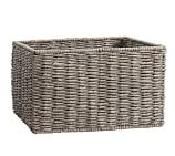 Samantha Square Bench Basket, Gray