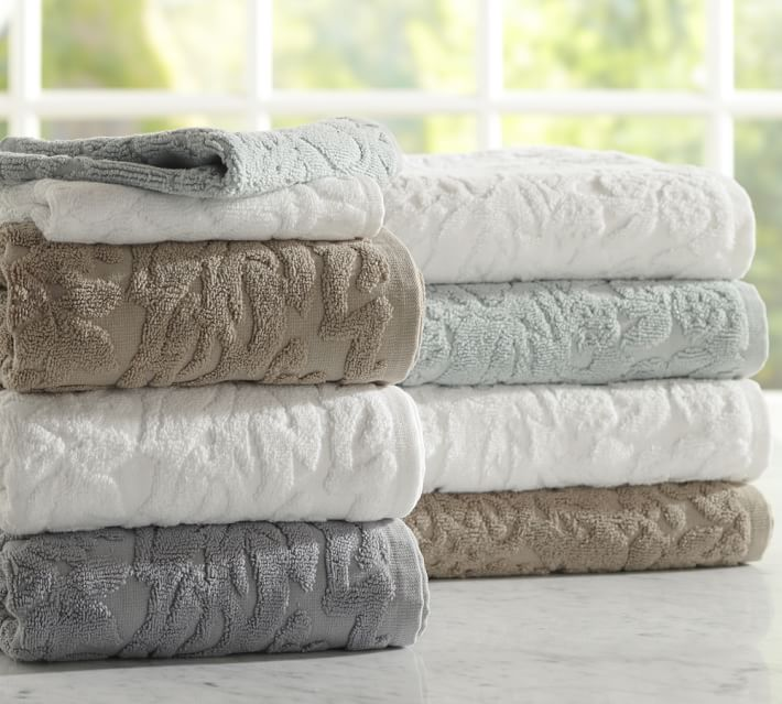 . Isaac Floral Sculpted Bath Towels   Pottery Barn
