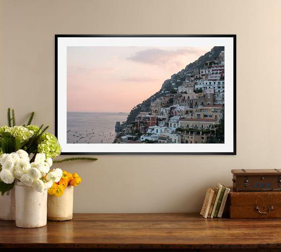 Sunset Sips In Positano Framed Print By Rebecca Plotnick