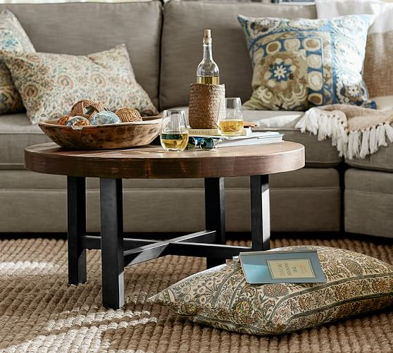 griffin round coffee table wood metal c Image Result For Pottery Barn Coffee Table