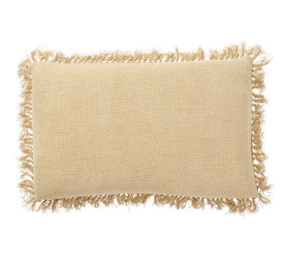 Linen Fringe Lumbar Pillow Cover, 16x26, Flaxen
