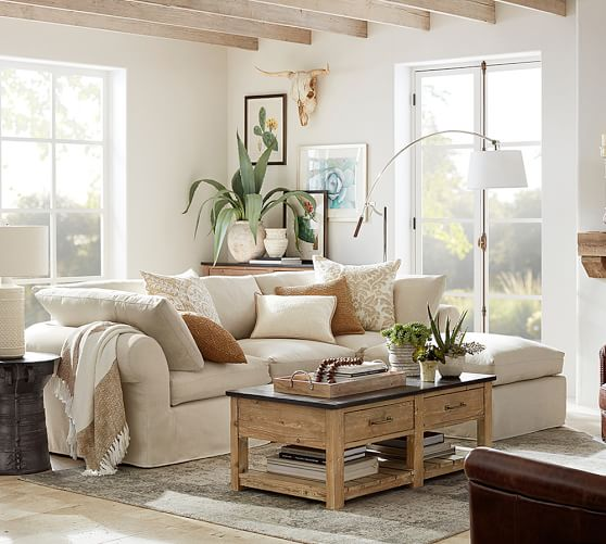 pb air slipcovered 4 piece sofa with chaise sectional pottery barn. Black Bedroom Furniture Sets. Home Design Ideas