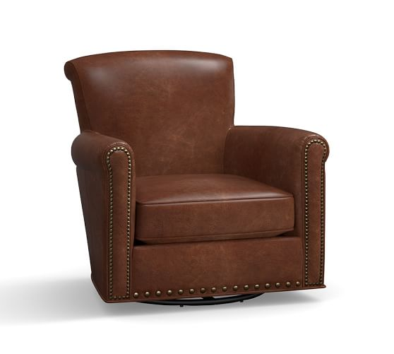 Irving Leather Swivel Rocker With Nailheads Pottery Barn