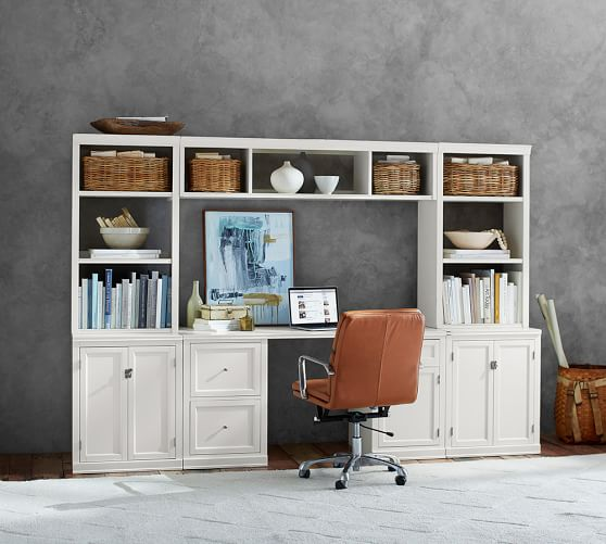 logan small office suite with cabinet doors bridge pottery barn
