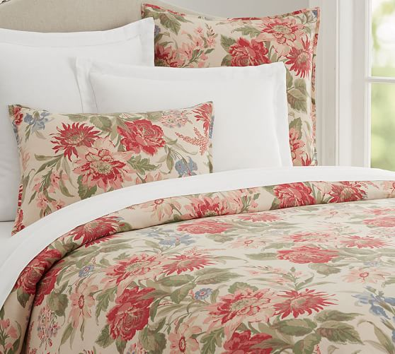 Marla floral print duvet cover sham pottery barn for How to change a duvet cover by rolling