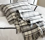 Plaid Fringed Blanket, Full/Queen, Black