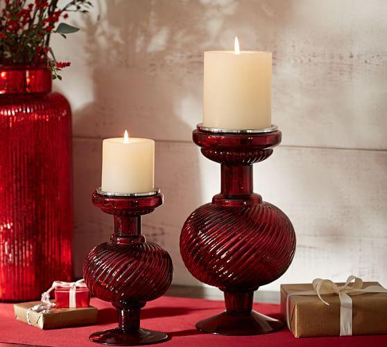 Chalet Red Mercury Glass Pillar Candleholder, Small