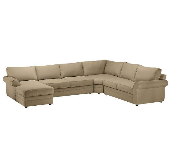 Pearce Upholstered Right 4-Piece Chaise with Corner Wedge Sectional, Down Blend Wrapped Cushions, Performance Everydaysuede™ Light Wheat