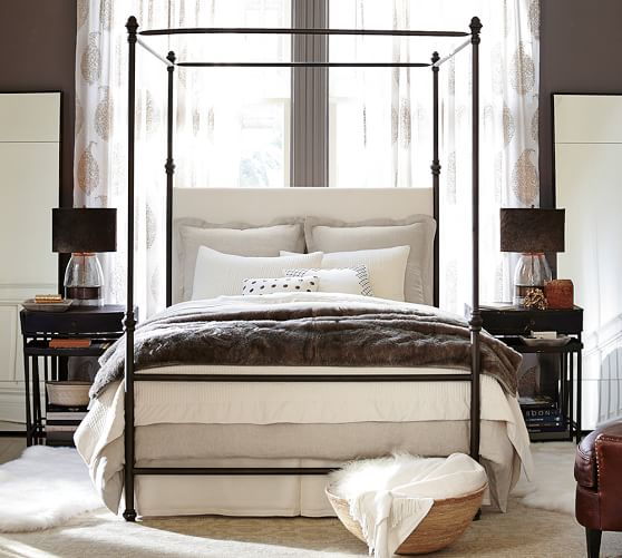 Antonia Metal Canopy Bed, Full, Aged Bronze finish