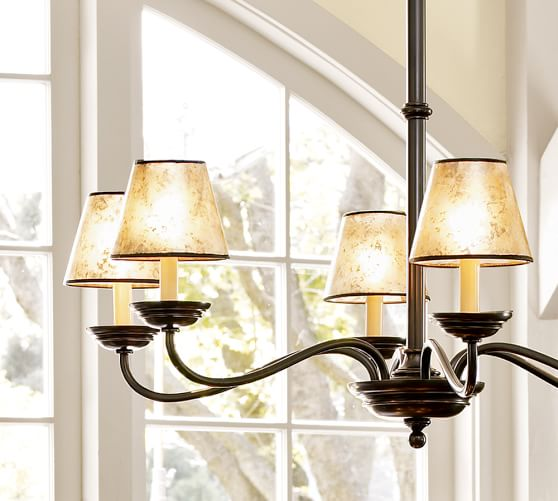 PB Basic Mica Chandelier Shade, Set of 2, Amber