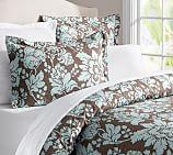 Dorothea Organic Floral Duvet Cover, Twin, Blue
