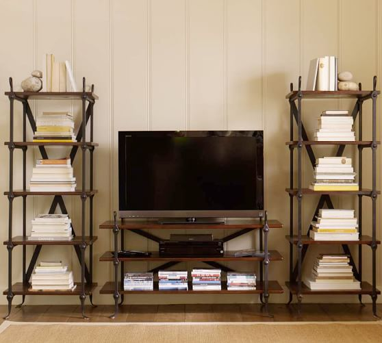 Benchwright Media System with Towers, Rustic Mahogany stain