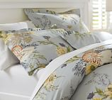 Nautilus Floral Organic Cotton Duvet Cover, Twin, Porcelain Blue