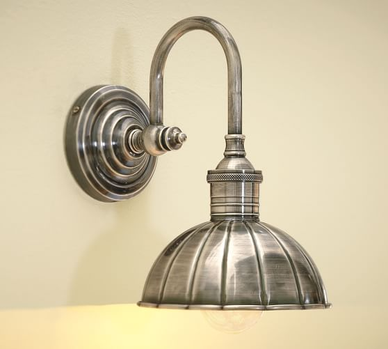 Vintage Single Sconce, Vintage Pewter finish