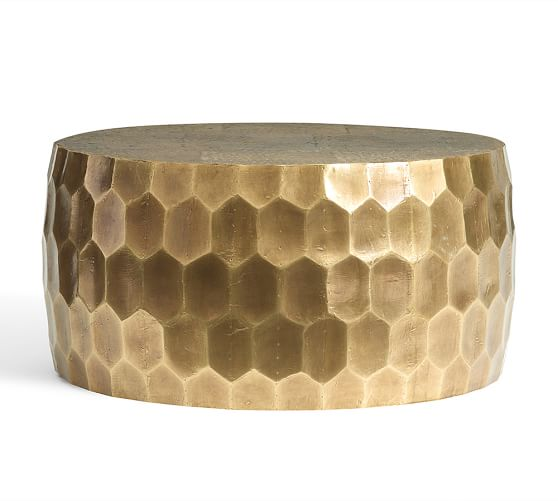 Vince Metal Foil Coffee Table, Brass