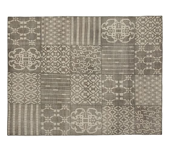 Nelson Patchwork Wool Rug, 2.5x9', Gray