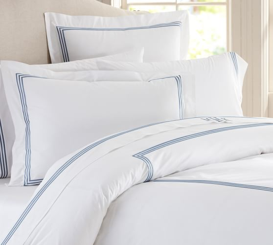 Grand Embroidered Duvet Cover, Twin, Lapis Blue