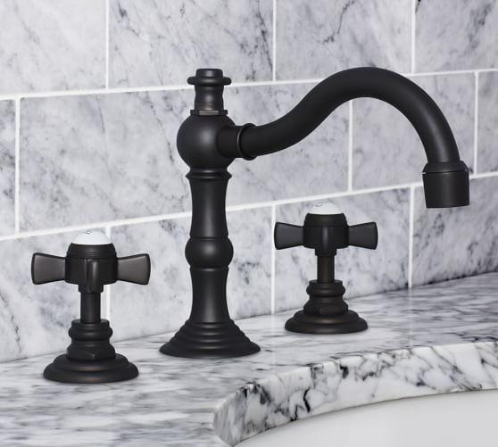 Langford Cross-Handle Widespread Bathroom Faucet, Antique Bronze Finish