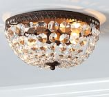 Mia Faceted-Crystal Flush-Mount Ceiling Fixture