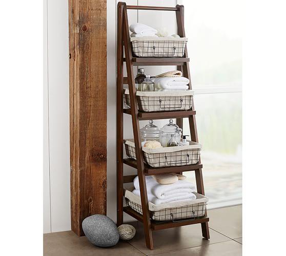 Benchwright Ladder Floor Storage, Rustic Mahogany Finish