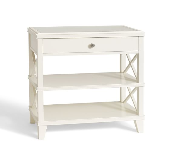 Clara Wide Bedside Table, Sky White