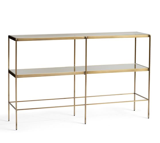 Leona Metal Console Table, Brass