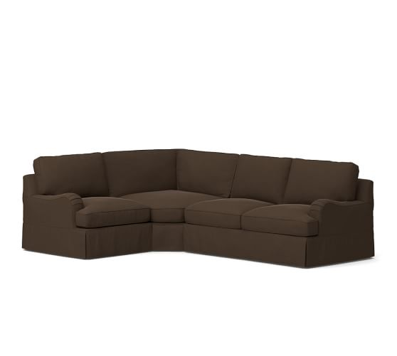 PB Comfort English Arm Slipcovered Right Arm 3-Piece Wedge Sectional, Box Edge Polyester Wrapped Cushions, Vintage Velvet Café