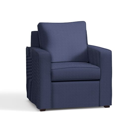 Cameron Square Arm Slipcovered Armchair, Polyester Wrapped Cushions, Performance Tweed Navy