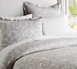 Samantha Damask Cotton Duvet Cover, Twin, Smoke Gray
