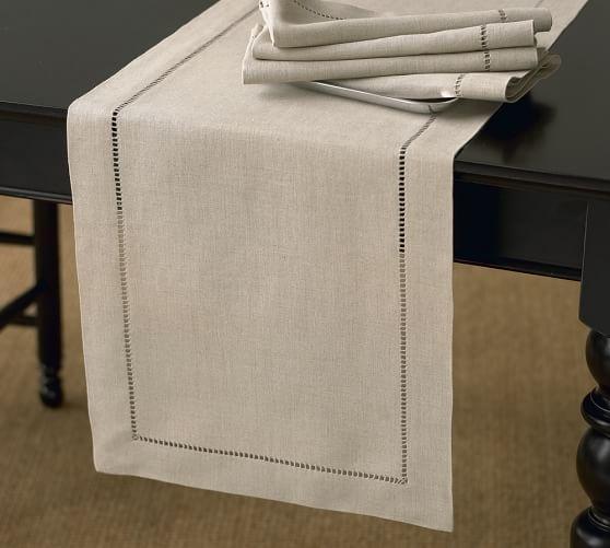 """Linen Hemstitch Table Runner, 16 x 108"""", White"""