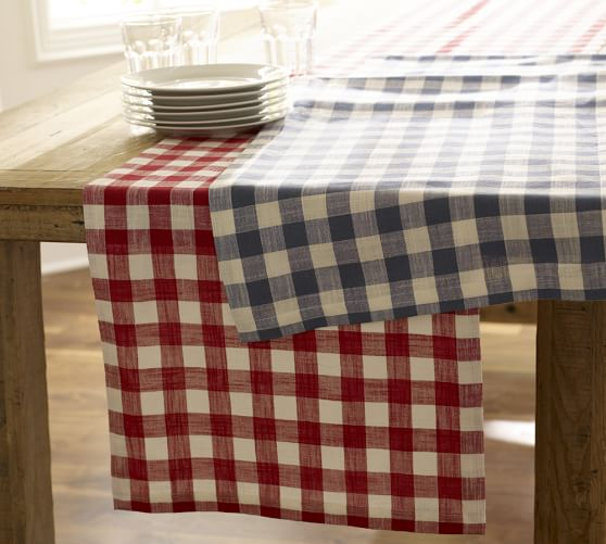 Gingham Check Table Runner, 18 x 108