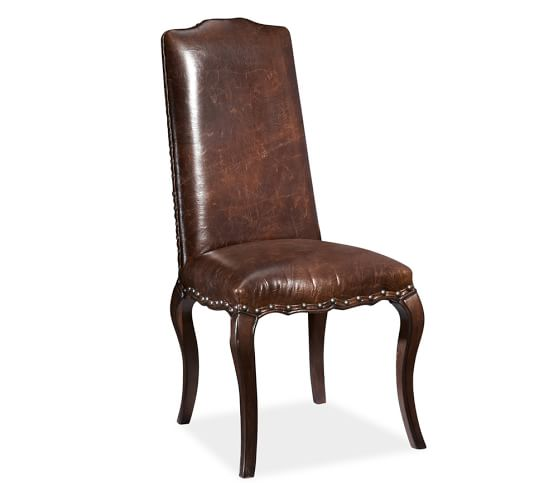 Calais Dining Side Chair, Espresso Stained Frame, Antique Dark Brown Leather