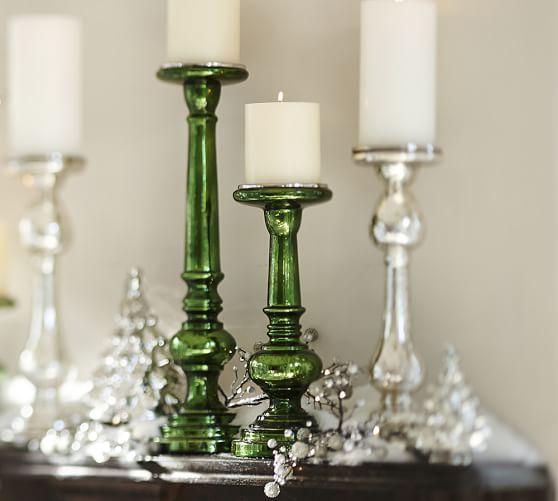 Everett Green Mercury Glass Pillar Candleholder, Small