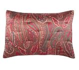 Scarlet Paisley Silk/Cotton Quilted Sham, Standard, Red